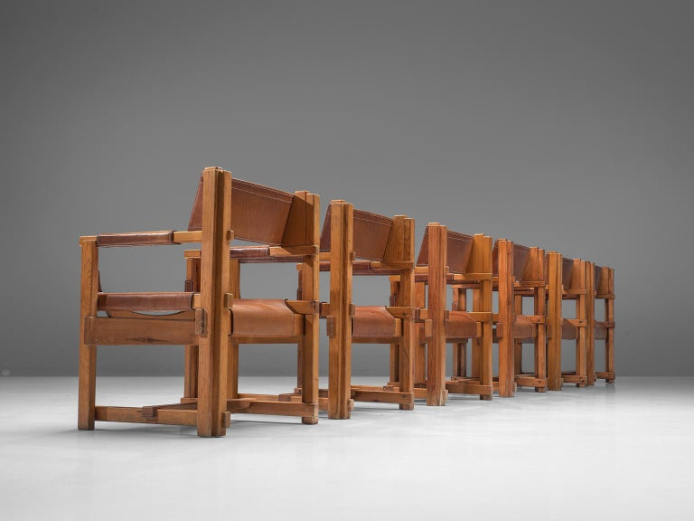 Spanish Joan Pou Set of Six Rationalist Armchairs in Pine and Cognac Leather For Sale