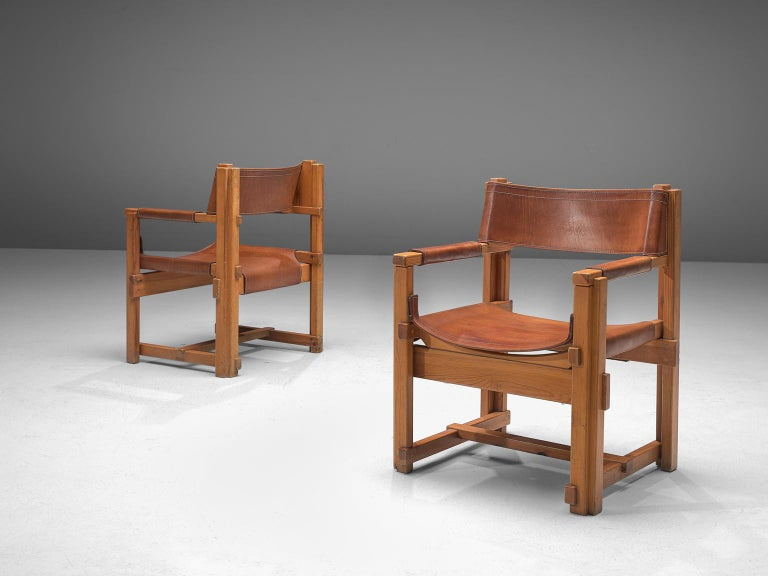 Joan Pou Set of Six Rationalist Armchairs in Pine and Cognac Leather In Good Condition For Sale In Waalwijk, NL