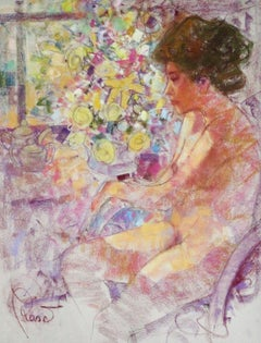Next To The Window - Joan Raset Pastel on Carson Paper Painting Impressionist