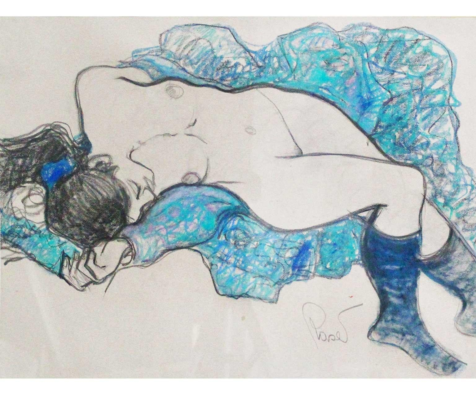 Nude In Blue - Joan Raset Pastel And Charcoal Painting Impressionist
