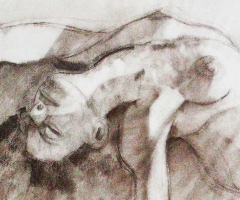 Nude - Joan Raset Charcoal Paper Painting Impressionist For Sale 2