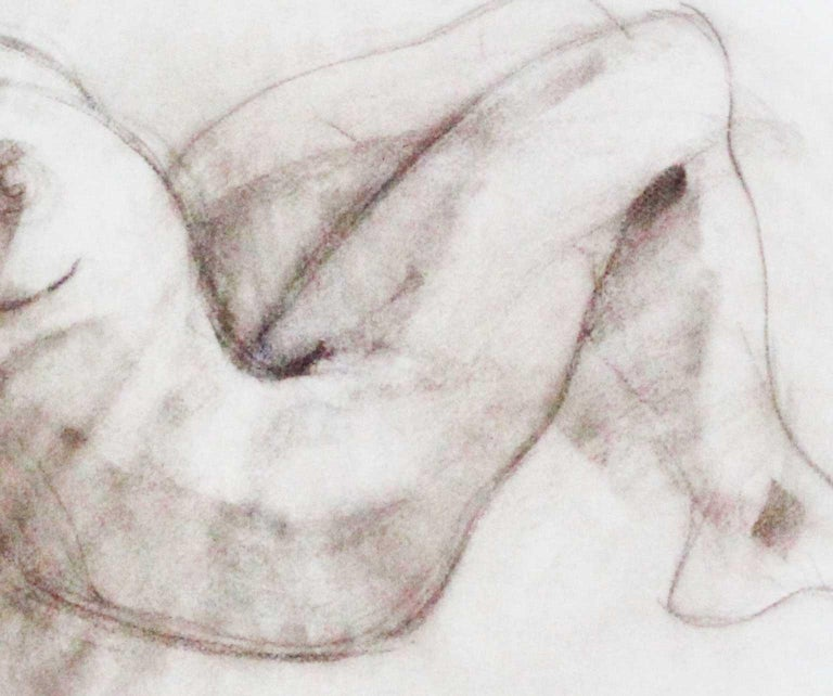 Nude - Joan Raset Charcoal Paper Painting Impressionist For Sale 3