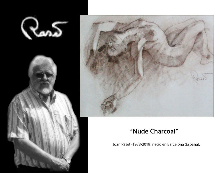 Nude - Joan Raset Charcoal Paper Painting Impressionist For Sale 5