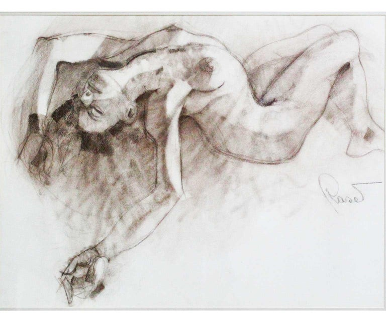 Nude - Joan Raset Charcoal Paper Painting Impressionist - Gray Figurative Painting by Joan Raset
