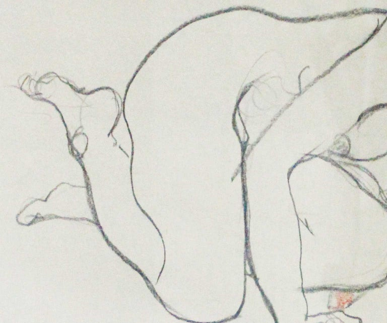 Nude With Violin - Joan Raset Pastel And Charcoal Paper Painting Impressionist For Sale 4