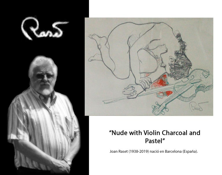 Nude With Violin - Joan Raset Pastel And Charcoal Paper Painting Impressionist For Sale 5