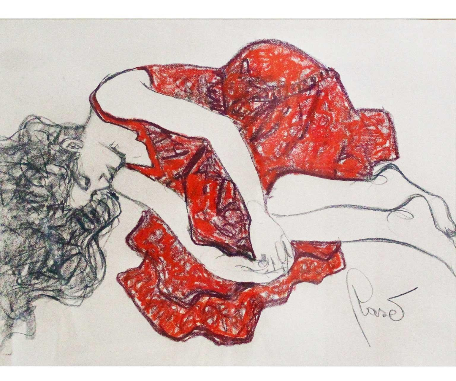 Rest In Red - Joan Raset Pastel on Carson Paper Painting Impressionist