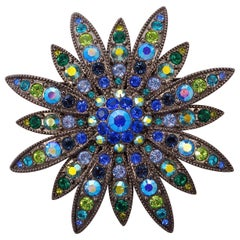 Joan Rivers Blue Green Aurora Borealis Brooch Crystallized with Swarovski