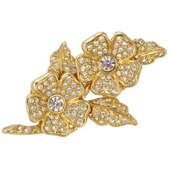 Joan Rivers Gold Plated Clear Rhinestone Flower Brooch and Earrings circa 1980s