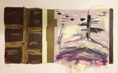 Large Abstract Expressionist Feminist Lithograph Incorporating Text  ''FMSWNL''