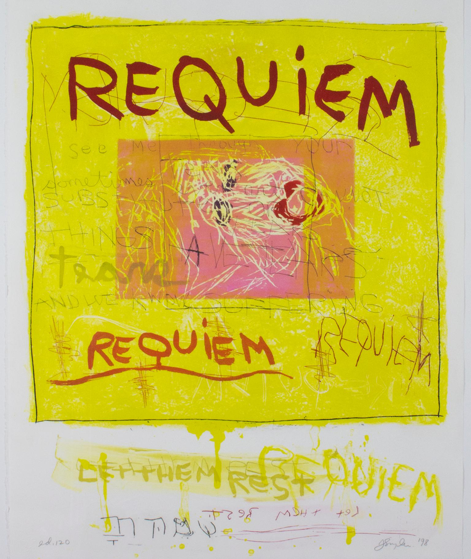 """""""Requiem/Let Them Be,"""" Etching and Aquatint signed by Joan Snyder"""