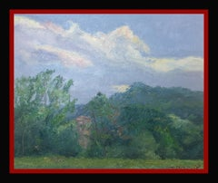 """ landscape of Catalonia. Green"" Original impressionist oil canvas painting"