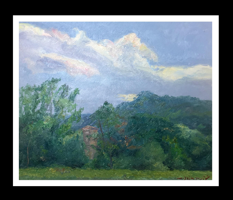 """ landscape of Catalonia. Green"" Original impressionist oil canvas painting"
