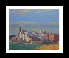Beach of Sant Sebastia Sitges original impressionist acrylic painting