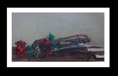 carnation and trumpet original impressionist acrylic painting