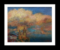 Clouds on Sitges original impressionist oil canvas painting
