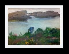 coast of catalonia. Gerona original impressionist oil canvas painting