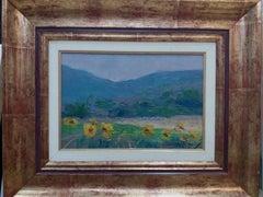 field of sunflowers original impressionist acrylic painting