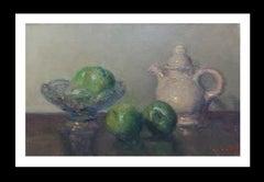 GREEN APPLES original impressionist acrylic painting