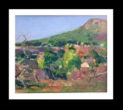 Landscape in green original impressionist oil canvas painting