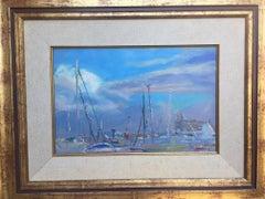 Marine blue port de Mallorca original impressionist oil canvas painting