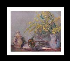 minosaurus and trumpet original impressionist acrylic painting