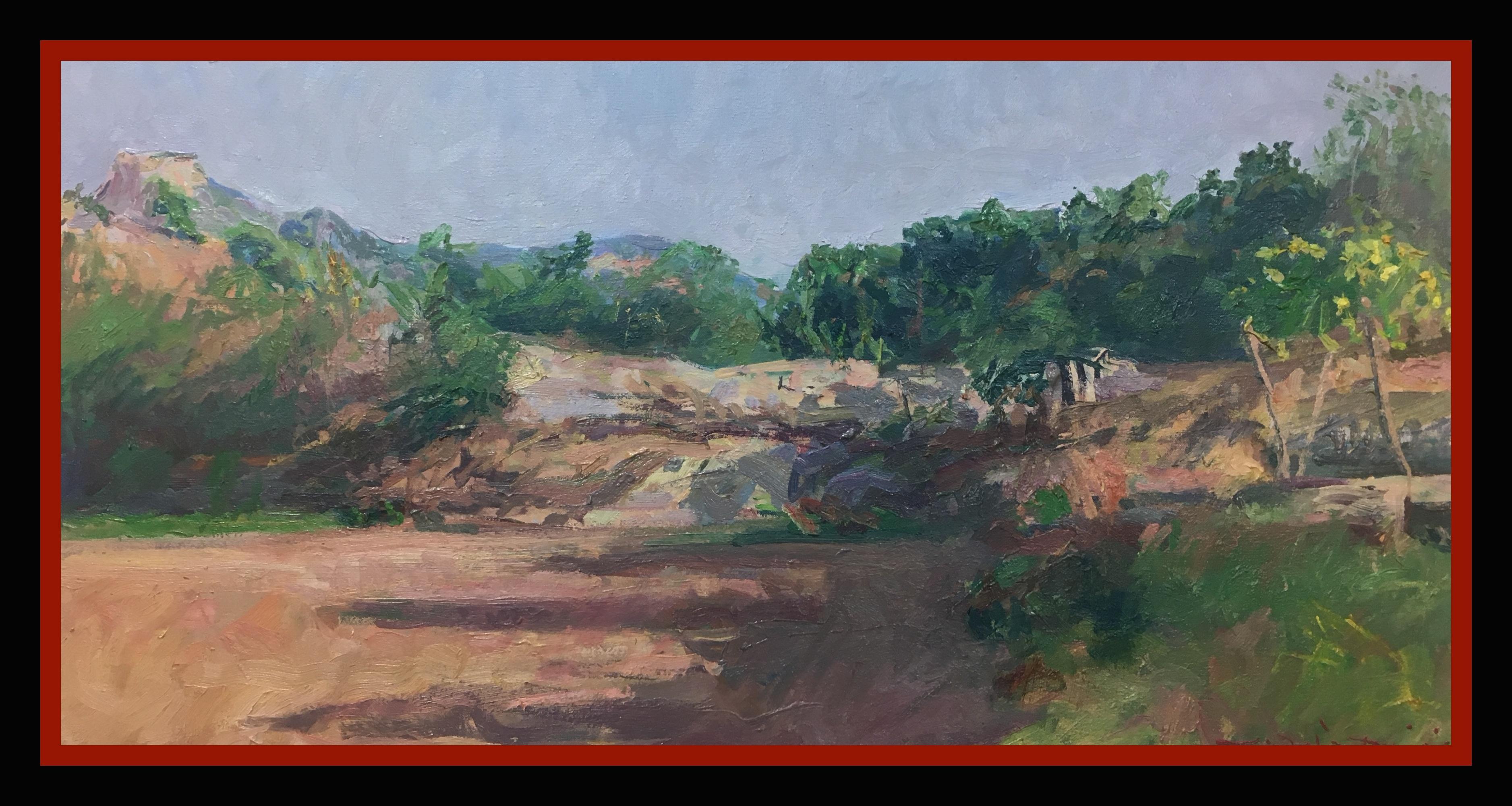 Mountain Lanscape of Gerona original impressionist oil canvas painting