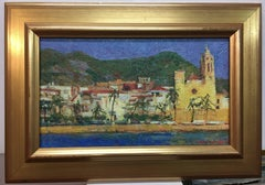 People of Sitges original impressionist oil canvas painting