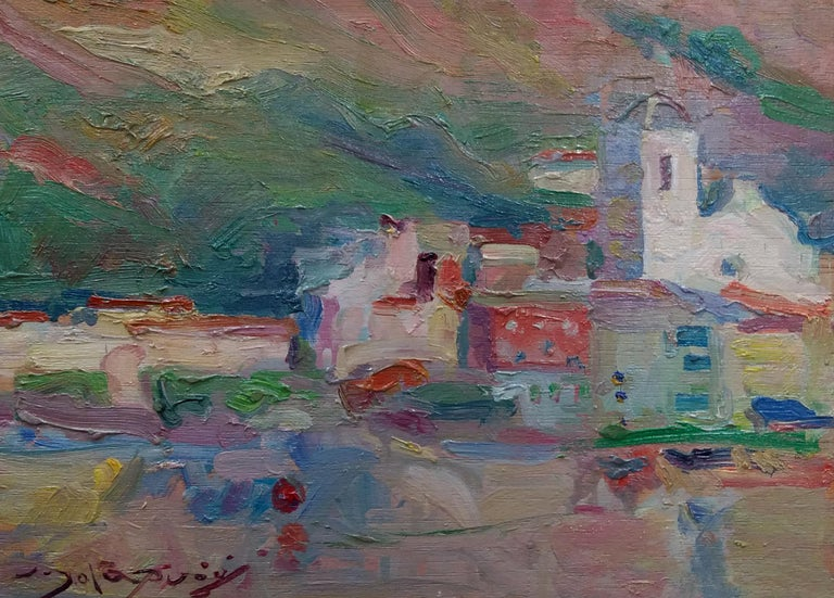 Port de la Selva original impressionist acrylic painting - Painting by Joan SOLA PUIG