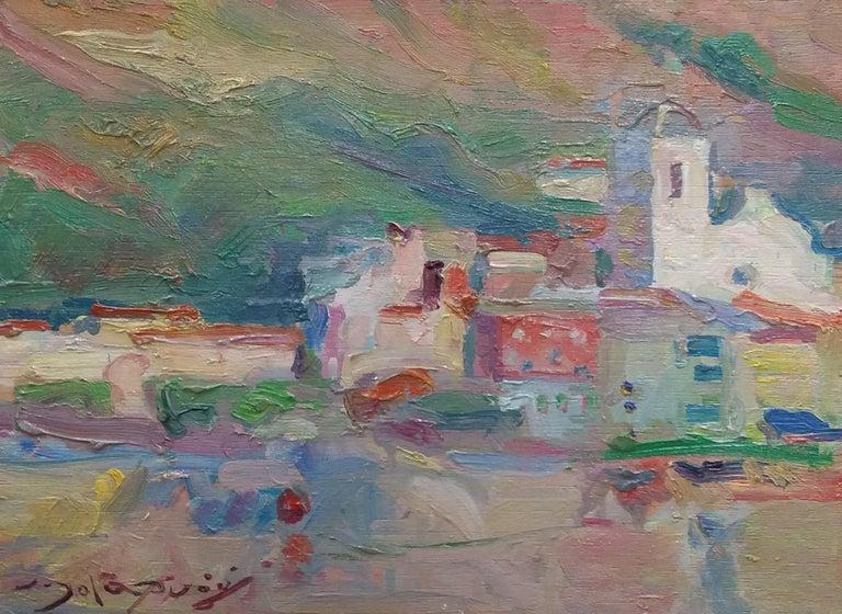 Port de la Selva original impressionist acrylic painting - Impressionist Painting by Joan SOLA PUIG