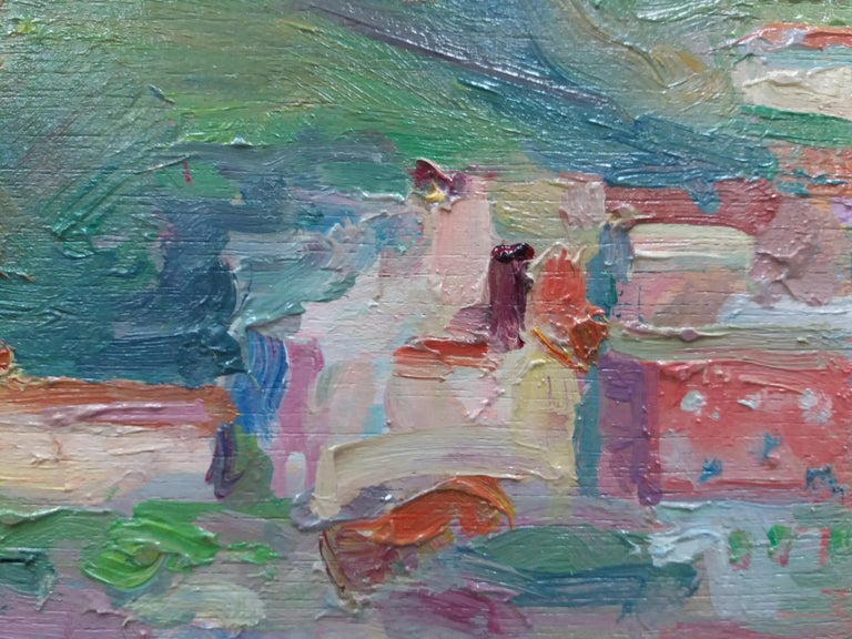 Port de la Selva original impressionist acrylic painting. . SOLÁ paints in a natural way, which reflects the Old Masters, soaking up the colour, air, smell and the pure scent of his environment. He delivers to his canvas the strange mix of emotion