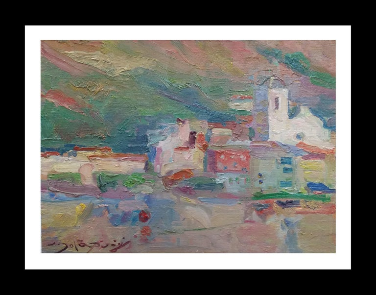 Joan SOLA PUIG Landscape Painting - Port de la Selva original impressionist acrylic painting