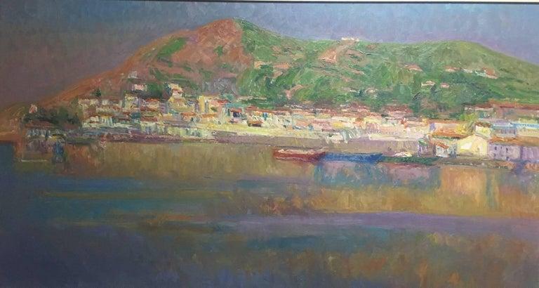 Port de la SElva original impressionist canvas oil painting - Impressionist Painting by Joan SOLA PUIG