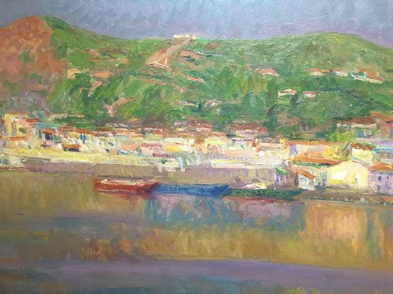Port de la SElva original impressionist canvas oil painting - Black Landscape Painting by Joan SOLA PUIG