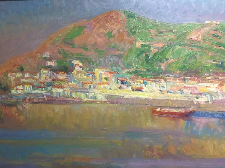 Port de la SElva original impressionist canvas oil painting.  Sola PUIG, Joan    (Barcelona 1950 )  Joan SOLÁ paints in a natural way, which reflects the Old Masters, soaking up the colour, air, smell and the pure scent of his environment. He