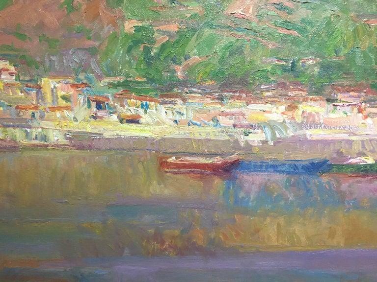 Port de la SElva original impressionist canvas oil painting For Sale 1