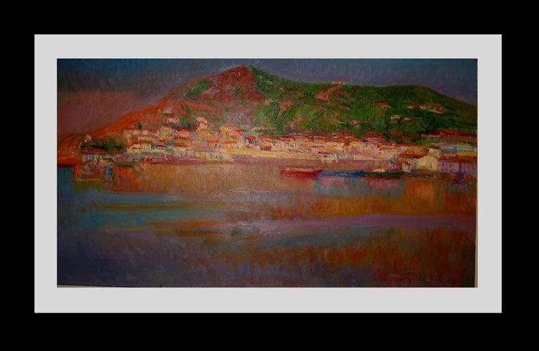 Port de la SElva original impressionist canvas oil painting - Painting by Joan SOLA PUIG