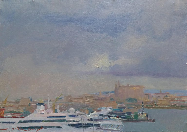Port of Mallorca original impressionist acrylic painting - Painting by Joan SOLA PUIG