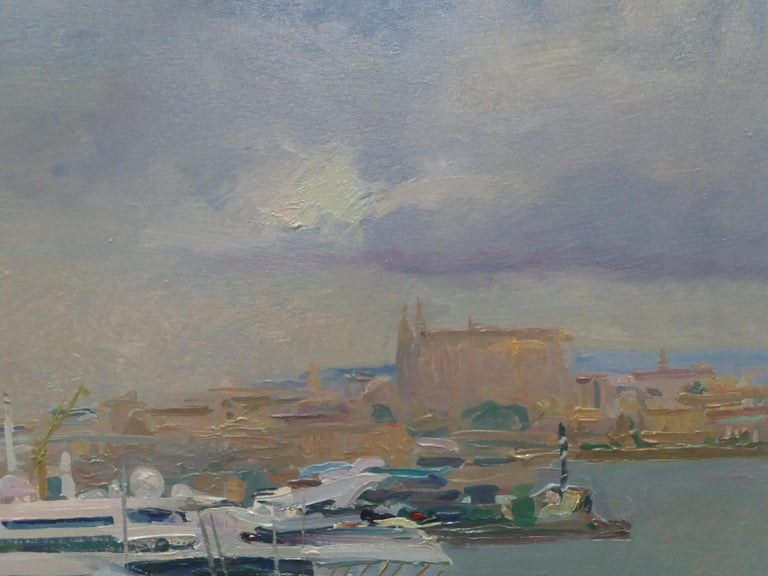 Port of Mallorca original impressionist acrylic painting - Impressionist Painting by Joan SOLA PUIG