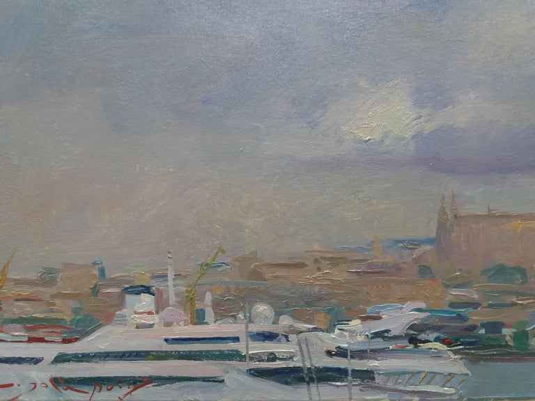 Port of Mallorca original impressionist acrylic painting - Gray Landscape Painting by Joan SOLA PUIG