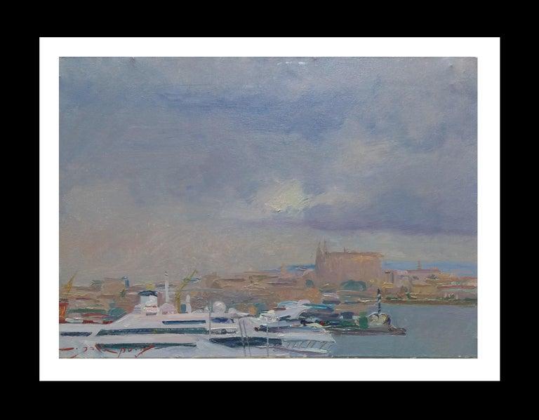 Joan SOLA PUIG Landscape Painting - Port of Mallorca original impressionist acrylic painting