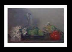 red teapot original impressionist acrylic painting