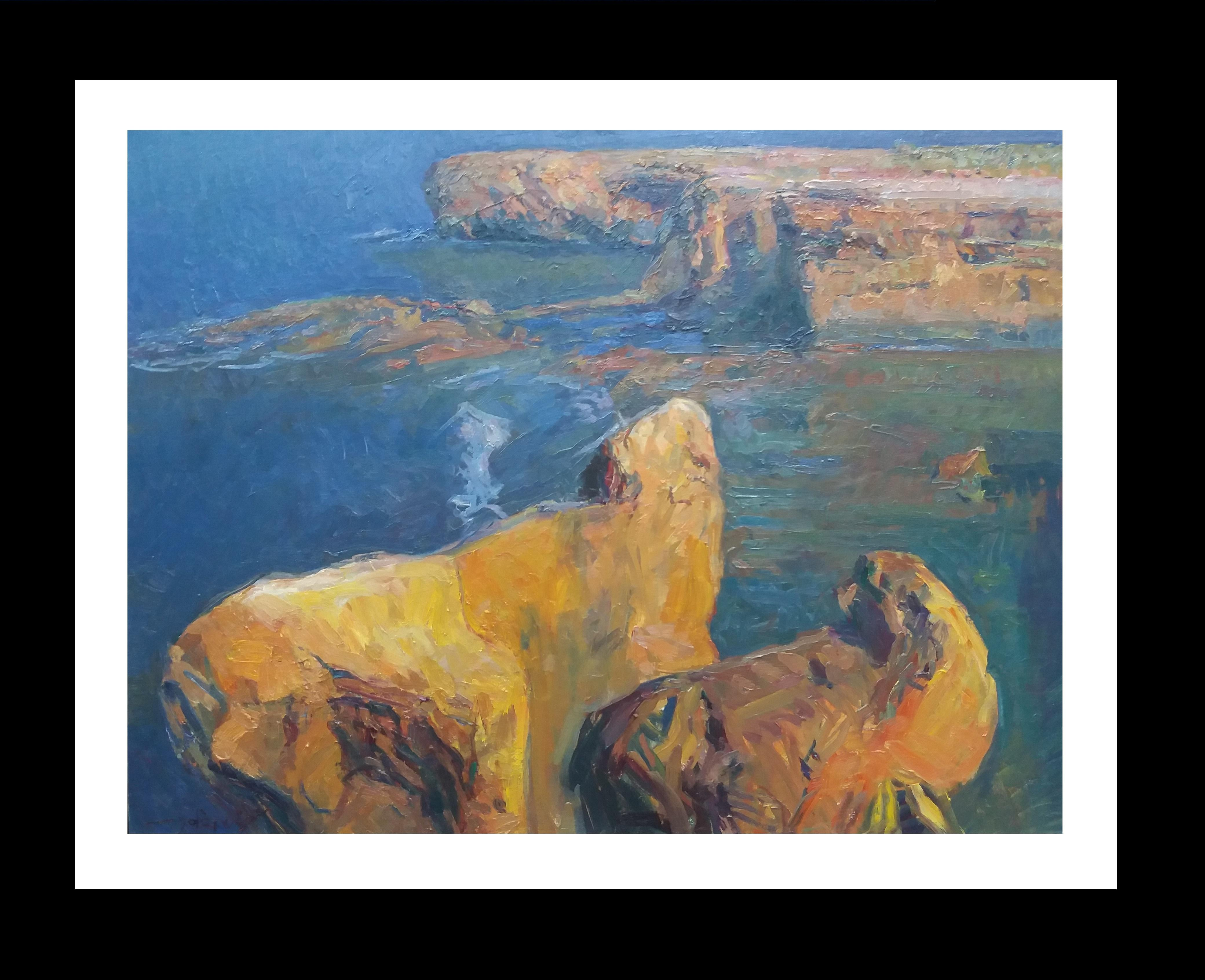 rocks in the sea original impressionist acrylic painting