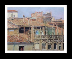 roofs in Vic original impressionist acrylic painting