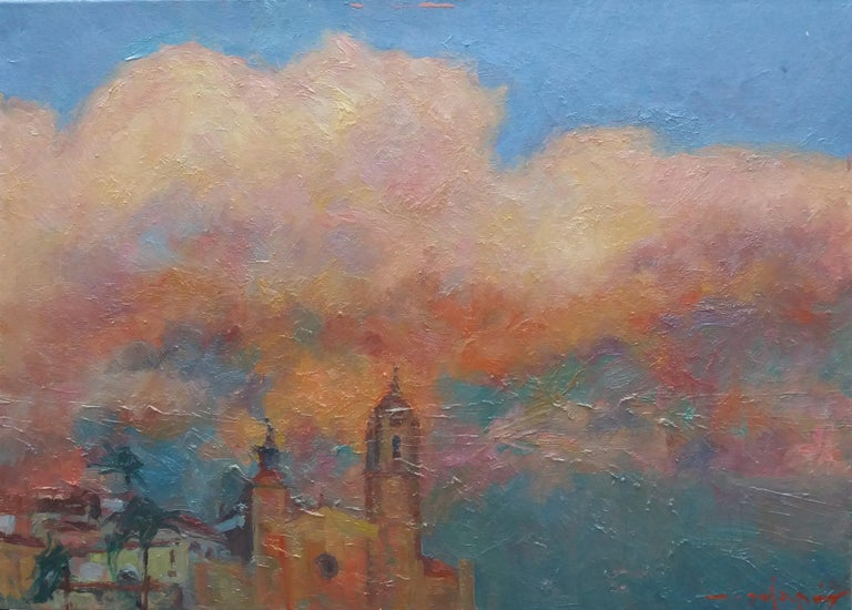 Sitges original impressionist acrylic painting - Painting by Joan SOLA PUIG