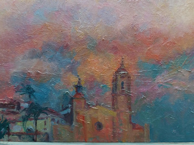 Sitges original impressionist acrylic painting - Impressionist Painting by Joan SOLA PUIG