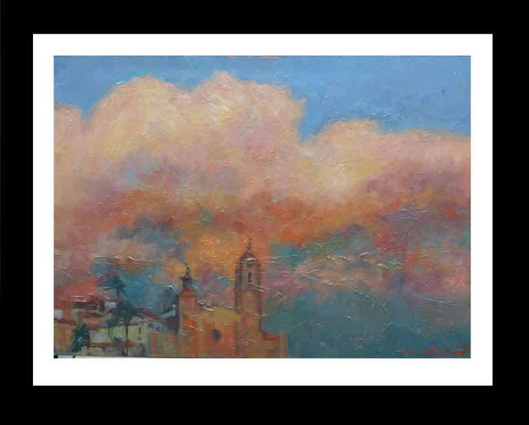 Joan SOLA PUIG Landscape Painting - Sitges original impressionist acrylic painting