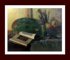 still life. book, brushes and fruit Original impressionist oil canvas painting
