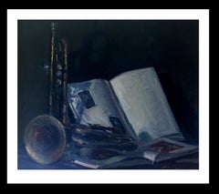 still life. book. trumpet. original impressionist oil canvas painting