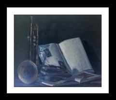 still life. book. trumpet. original impressionist oil canvas painting